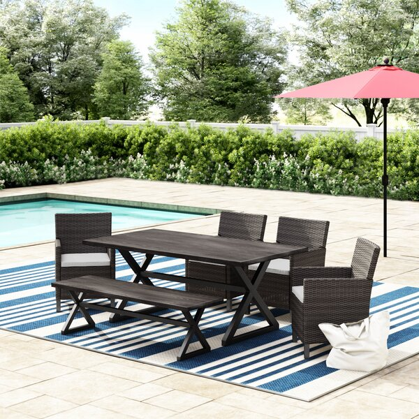 Dakoda Outdoor 6 Piece Dining Set with Cushions by Brayden Studio