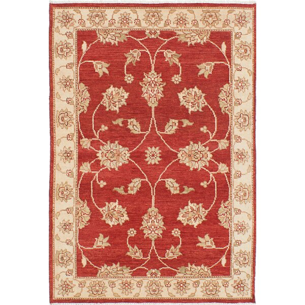 One-of-a-Kind Deacon Hand-Knotted Wool Dark Burgundy Area Rug by Alcott Hill