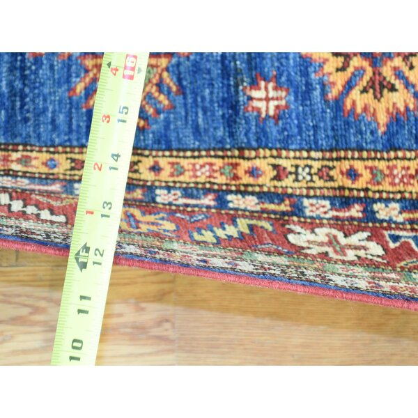 One-of-a-Kind Clement Kazak Tribal Design Handwoven Blue Wool Area Rug by Isabelline
