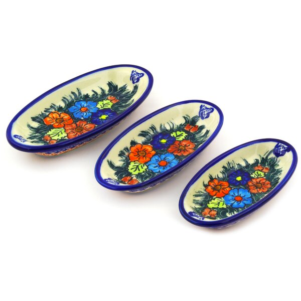 Butterfly Splendor 3 Piece Nesting Condiment Platter Set by Polmedia