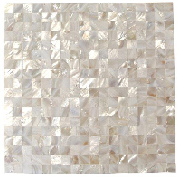 Lokahi 0.66 x 0.66 Glass Pearl Shell Mosaic Tile in White