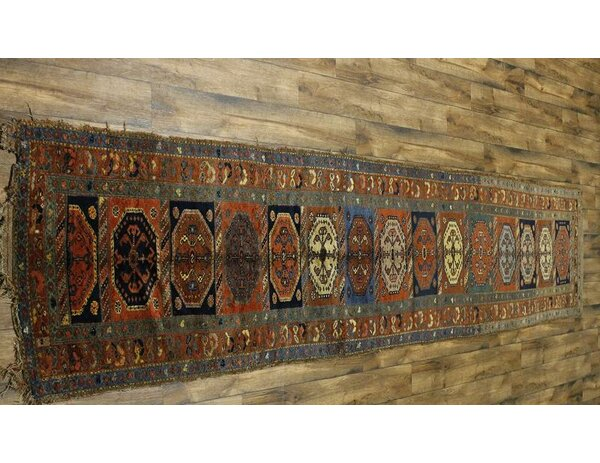 One-of-a-Kind Andreas Antique Caucasian Russian Hand-Knotted Wool Orange/Brown Area Rug by Astoria Grand