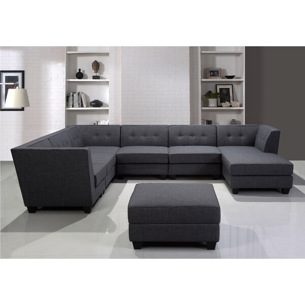 Left Hand Facing Modular Sectional with Ottoman by BestMasterFurniture