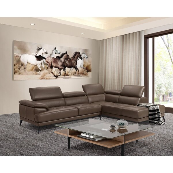Stedman Leather Sectional by Orren Ellis