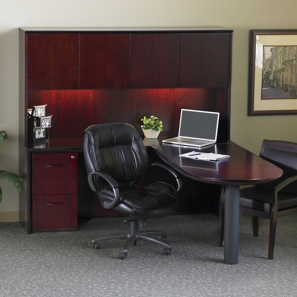 Corsica Series L-Shape Executive Desk with Hutch by Mayline Group