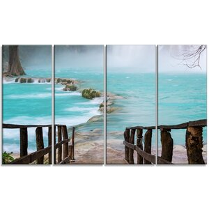 'Old Bridge into Mexico Waterfall' 4 Piece Photographic Print on Wrapped Canvas Set by Design Art