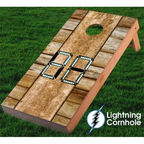 Electronic Scoring Wood Design Cornhole Board by Lightning Cornhole
