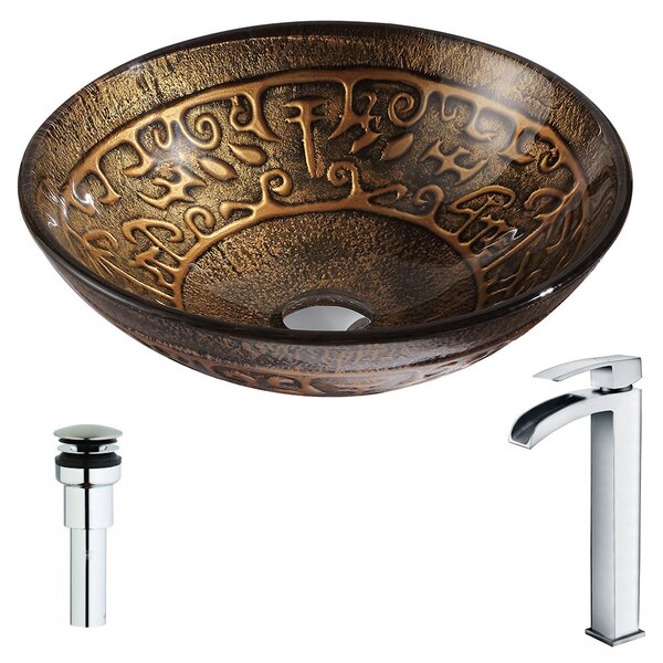 Alto Glass Circular Vessel Bathroom Sink with Faucet by ANZZI