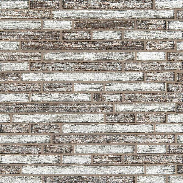 Luxe Interlocking Random Sized Glass Mosaic Tile in Brown by MSI