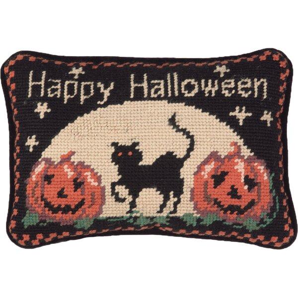 Happy Halloween Cat Wool Lumbar Pillow by Peking Handicraft