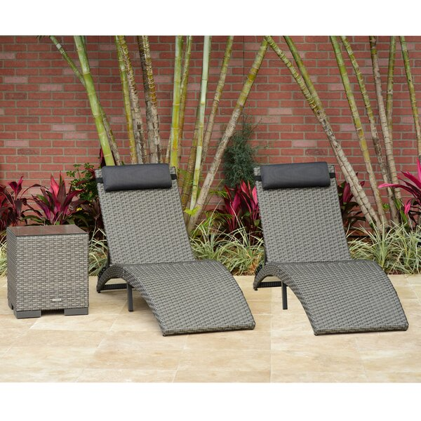 Sansom 3 Piece Chaise Lounge Set with Cushion and Table