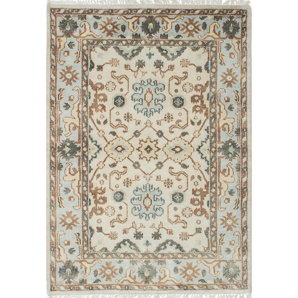 One-of-a-Kind Doggett Hand-Knotted Cream/Light Blue Area Rug by Isabelline