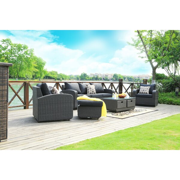 Mestas 5 Piece Rattan Sofa Seating Group with Cushions by Latitude Run