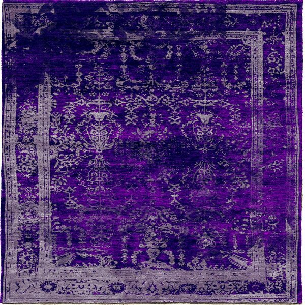 One-of-a-Kind Fauske Hand-Knotted Purple 6' Square Area Rug