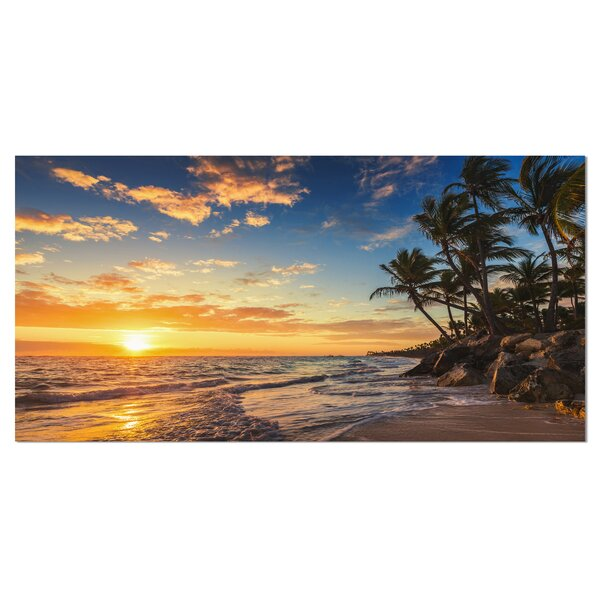 Paradise Tropical Island Beach with Palms Photographic Print on Wrapped Canvas by Design Art