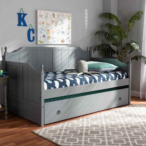 Eveland Twin Solid Wood Daybed With Trundle By Highland Dunes