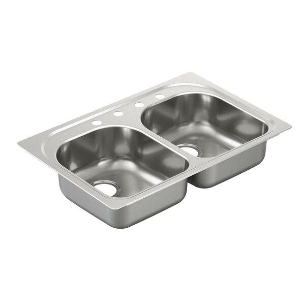 2000 Series Double Bowl Drop-In Kitchen Sink by Moen