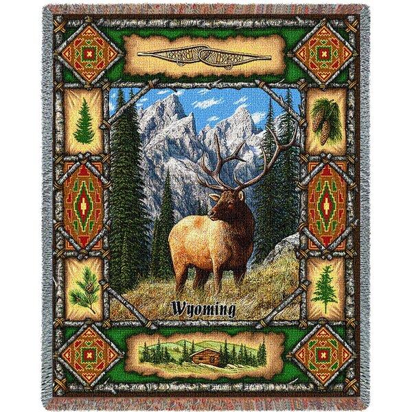 Woodell Elk Lodge Cotton Blanket by Millwood Pines