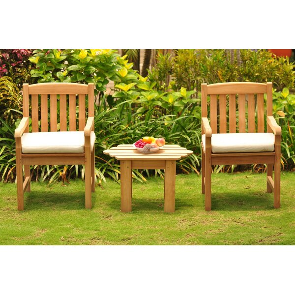 Gough 3 Piece Teak Seating Group by Rosecliff Heights