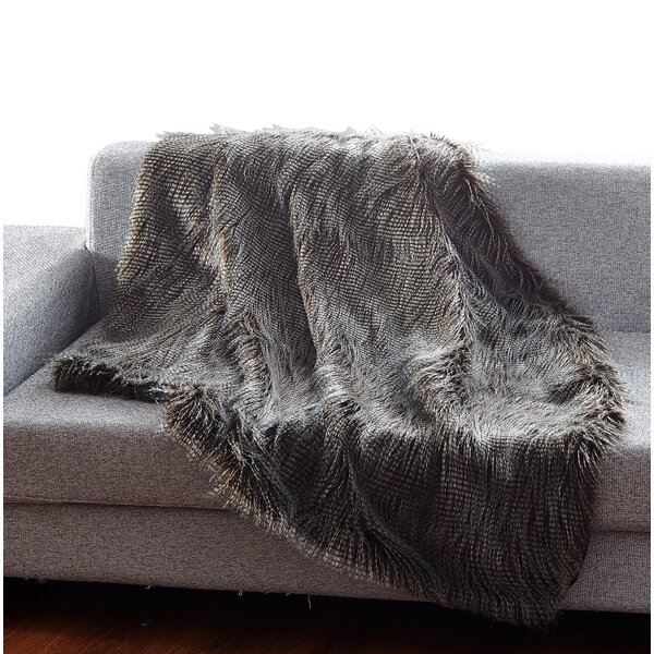 Rolland Luxury Fashion Peacock Faux Fur Throw by Mercer41
