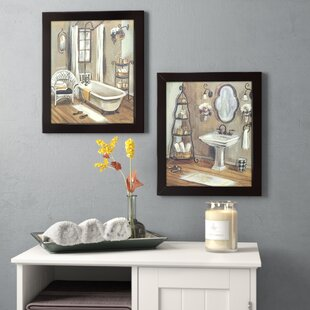 Bathroom 2 Piece Framed Painting Print Set On Canvas