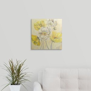 Gold and White Contemporary Poppies I by Carol Rowan Painting Print on Wrapped Canvas by Great Big Canvas