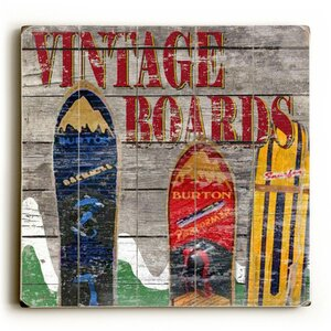 Vintage Snowboards Painting Print on Plaque by Loon Peak