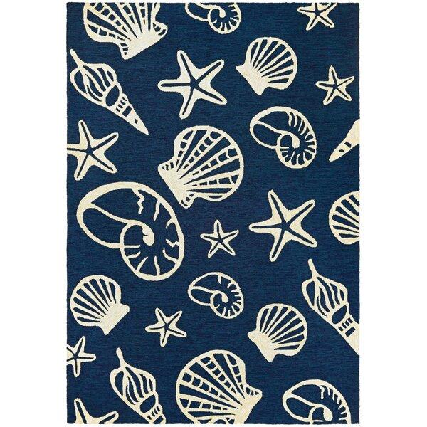 Monticello Cardita Shells Hand-Hooked Navy Indoor/Outdoor Area Rug by Beachcrest Home