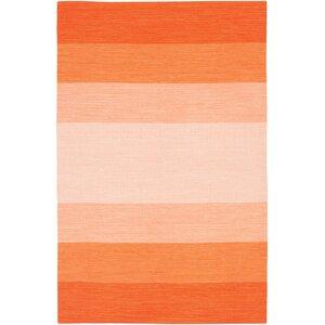 Elbeni Orange Striped Area Rug