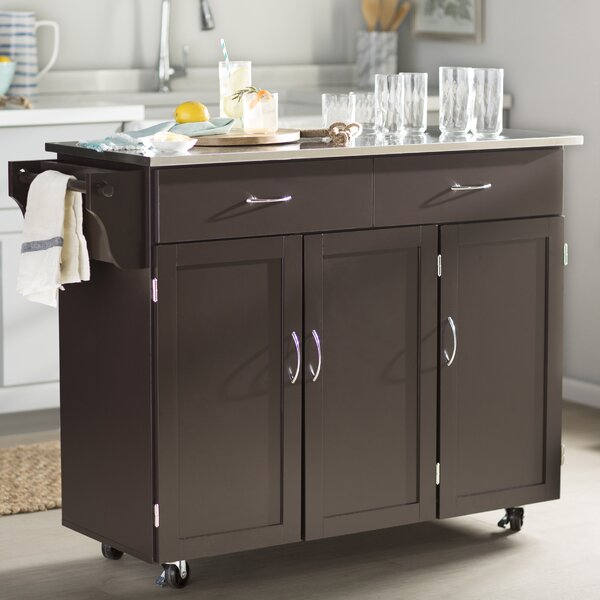 red barrel studio garrettsville kitchen island with stainless steel top reviews wayfair - Kitchen Carts And Islands