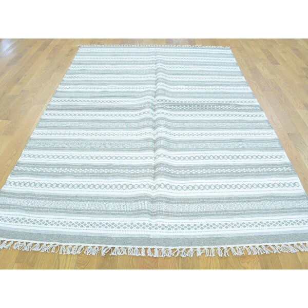 One-of-a-Kind Bessey Striped Handmade Kilim Ivory Wool Area Rug by Isabelline