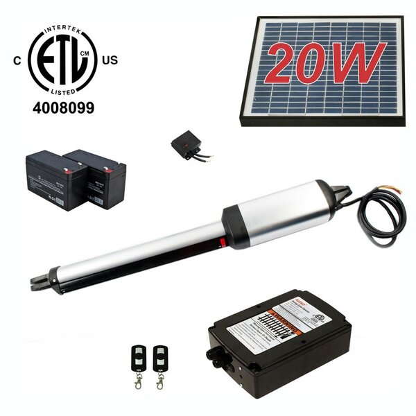 Single Swing Gate Operator ETL Listed Solar Kit by ALEKO
