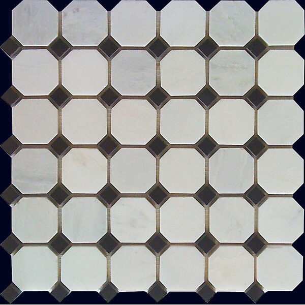 Random Sized Marble Mosaic Tile in White Statuary by Luxsurface