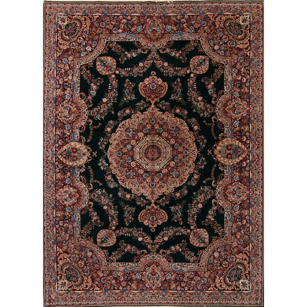 Skive Aubuson Chinese Oriental Hand-Knotted Wool Red/Green Area Rug by Bloomsbury Market