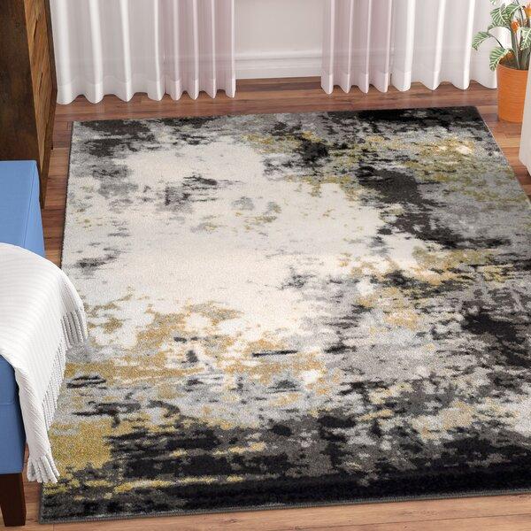 Shuff Charcoal/Mustard Yellow/Gray Area Rug by Wrought Studio
