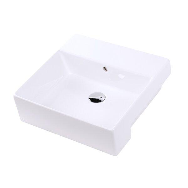 Aquamedia White Square Vessel Bathroom Sink with Overflow