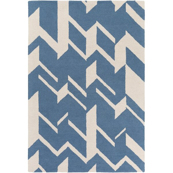 Youmans Hand-Crafted Blue/White Area Rug by George Oliver