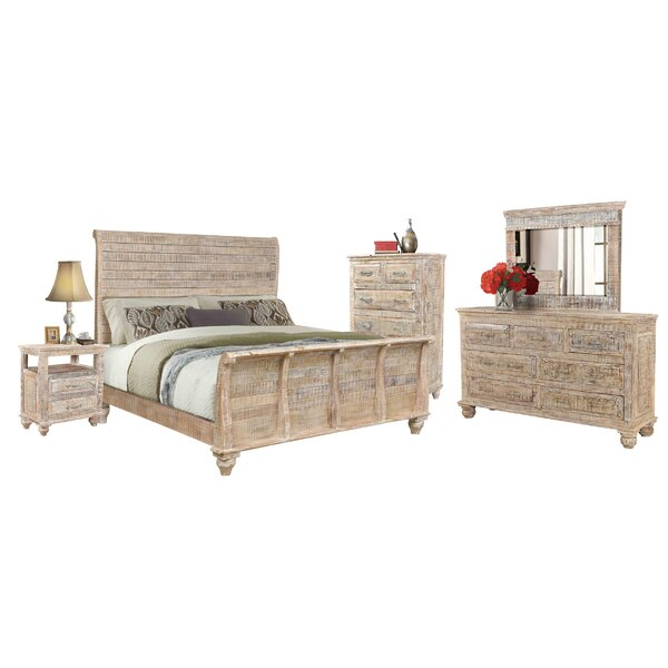 Keene Sleigh Standard Solid Wood 4 Piece Bedroom Set by Rosecliff Heights