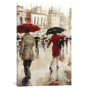 'Parting On A Paris Street' Vertical Painting on Wrapped Canvas by East Urban Home