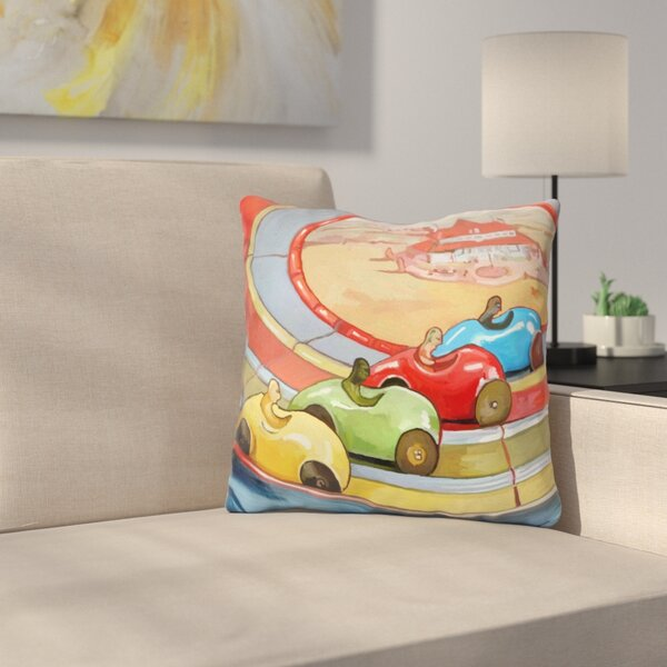 Retro Toy Race Cars Throw Pillow by East Urban Home