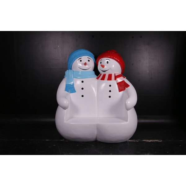 Alyshia Polyresin Double Snowman Seat Resin Garden Bench by The Holiday Aisle