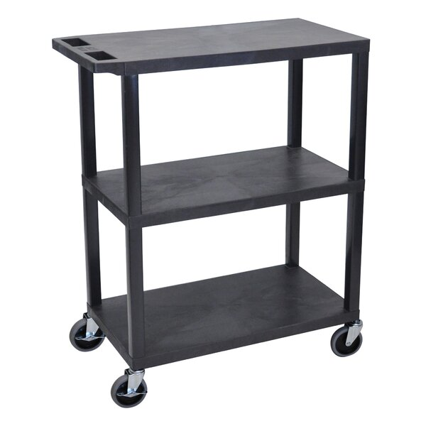 Fixed Height Presentation AV Cart with 3 Shelves by Luxor