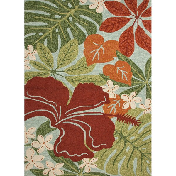 Artemi Hand Hooked Green/Red Indoor/Outdoor Area Rug by Bay Isle Home