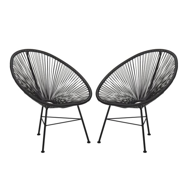 Meyerwood Wicker Patio Chair (Set of 2) by Latitude Run