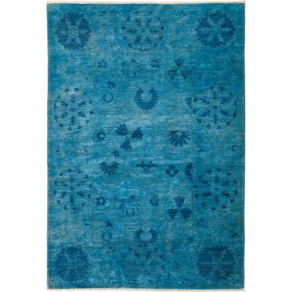 One-of-a-Kind Heilman Hand Knotted Wool Blue Area Rug by Bloomsbury Market