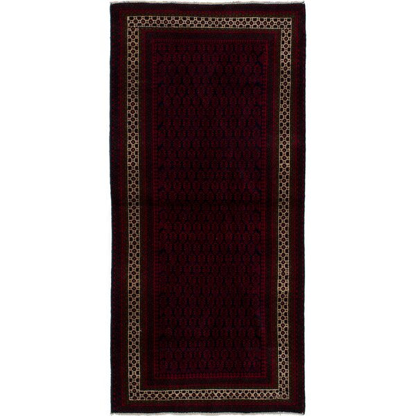 One-of-a-Kind Alaska Hand-Knotted Wool Dark Navy/Red Area Rug by Isabelline
