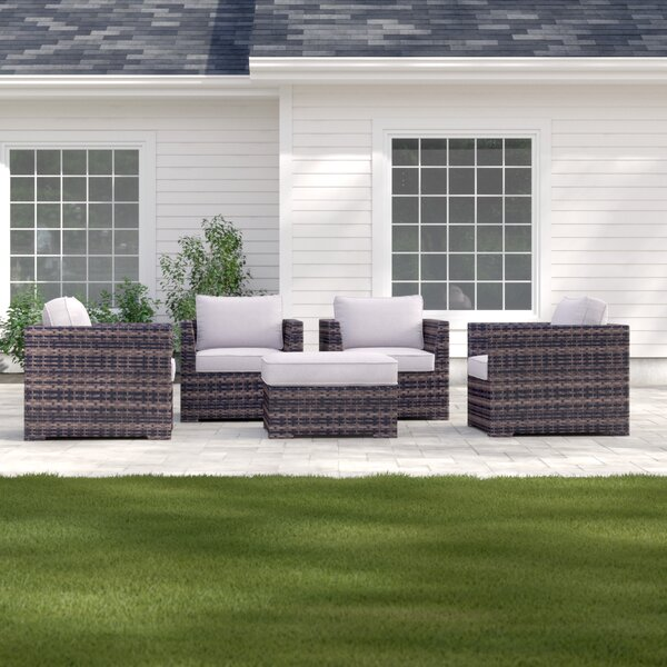 Letona Resort 5 Piece Patio Chair Set with Cushions and Ottoman by Sol 72 Outdoor