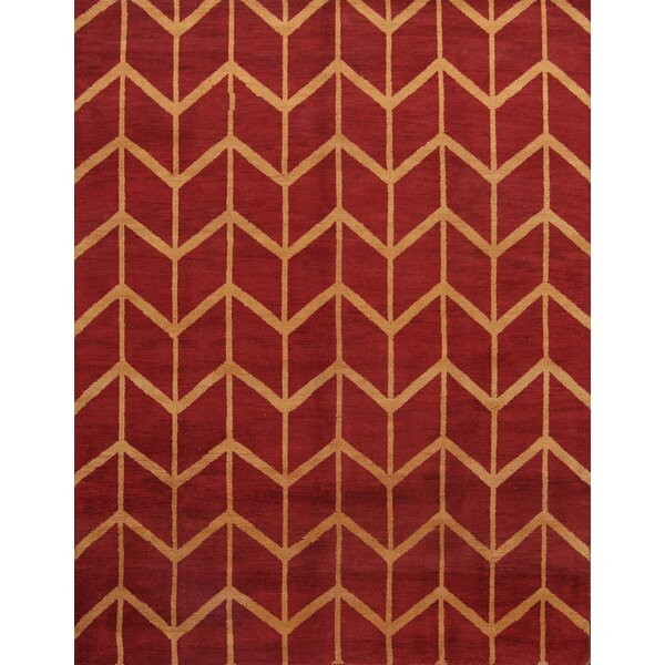 Pearl Gold Moroccan Traditional Oriental Hand-Knotted Wool Red/Burgundy Area Rug by Wrought Studio