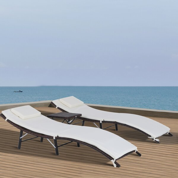 Kluge Reclining Chaise Lounge with Cushion and Table by Ebern Designs Ebern Designs