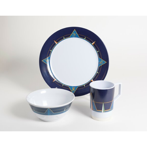 Decorated Melamine Compass 18 Piece Dinnerware Set, Service for 6 by Galleyware Company